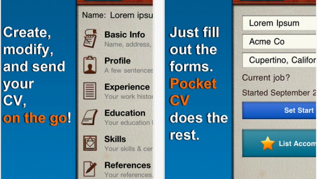 Pocket CV for iPhone  iPod touch and iPad on the iTunes App Store